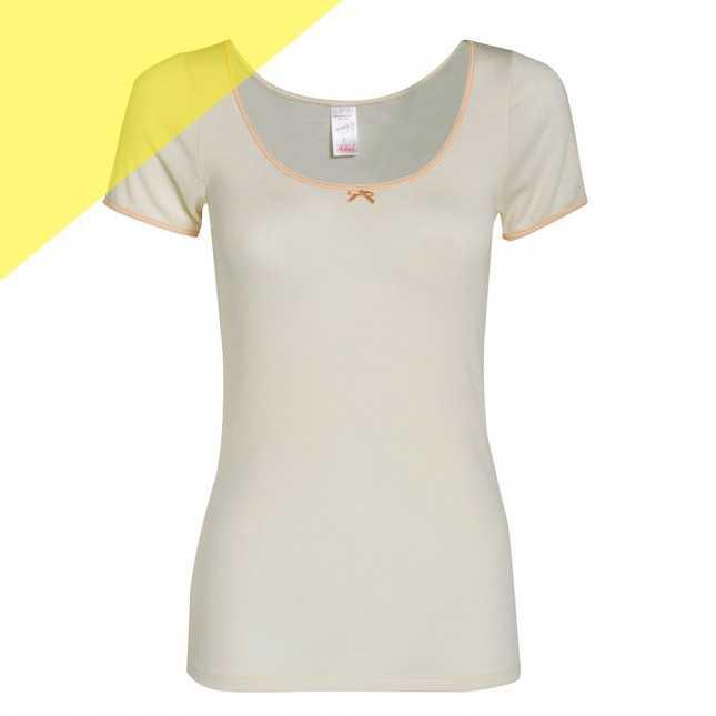 Tee-shirt manches courtes en laine et soie