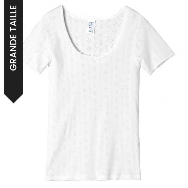 Tee-shirt manches courtes maille losange - grande taille