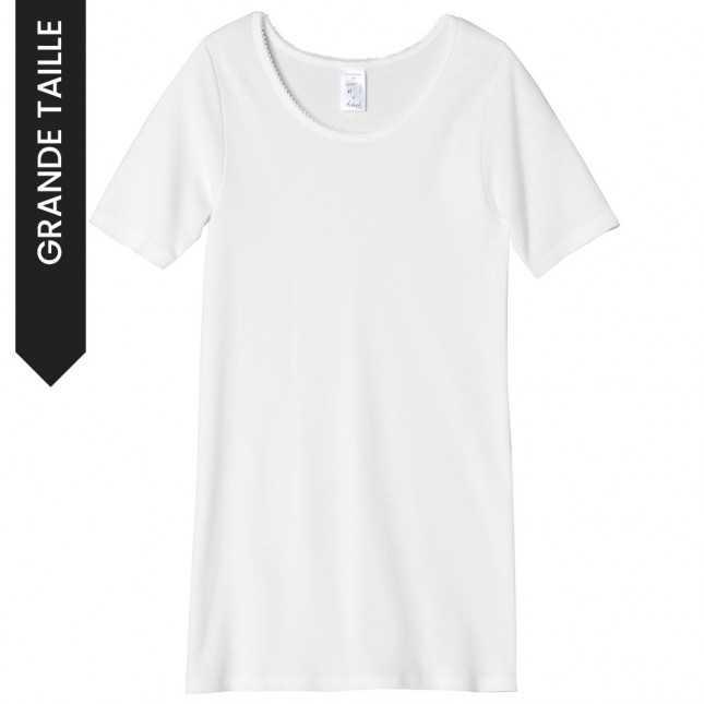 Tee-shirt blanc en coton - Grande taille femme | Lemahieu
