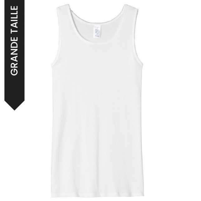 Débardeur femme blanc - Tee shirt sans manche 100% Coton | Grande taille Lemahieu