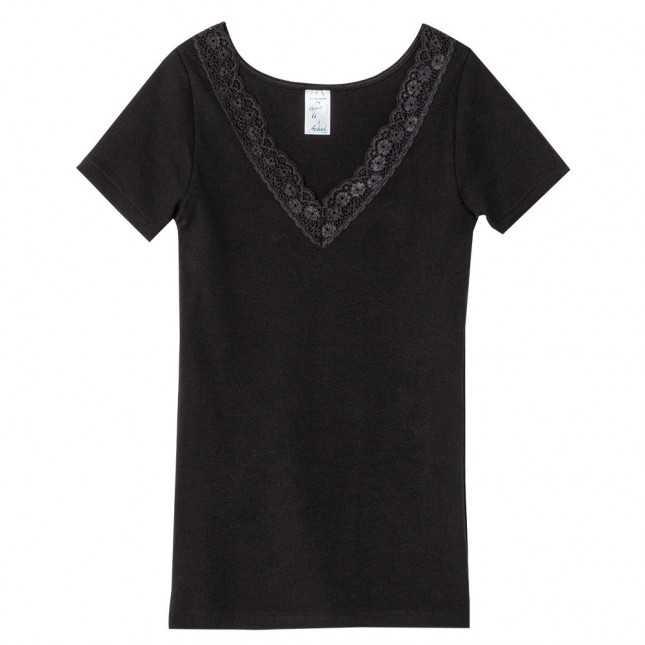 T-shirt Femme - Dentelle Noir | Lemahieu