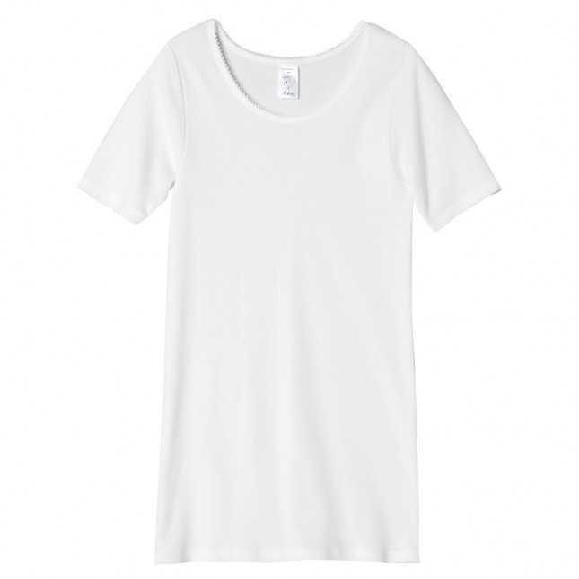 Tee-shirt manches courtes blanc en coton pour femme