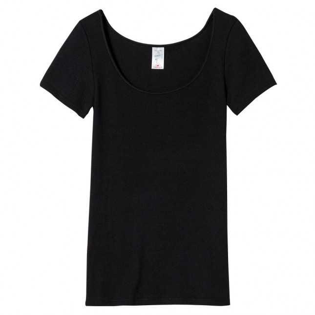 T-shirt Femme - Maille plumetis en laine - Noir| Lemahieu