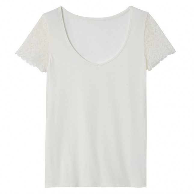 Tee-shirt col V en coton et dentelle Femme | Lemahieu