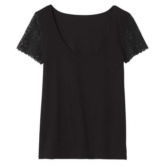 T-shirt Femme col V dentelle - Noir   Lemahieu