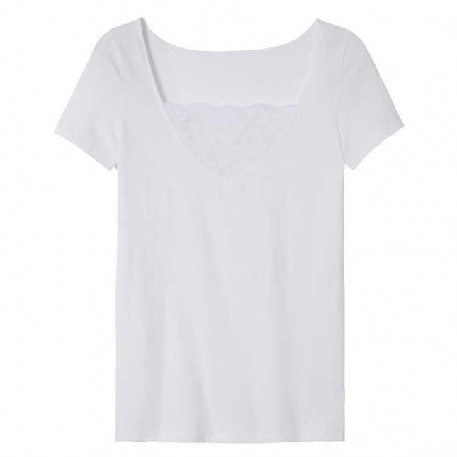 Tee-shirt en coton et dentelle Femme | Lemahieu