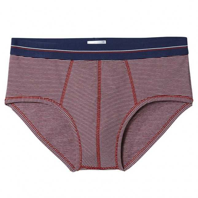 Slip Homme - Les fines rayures - Rouge | Lemahieu