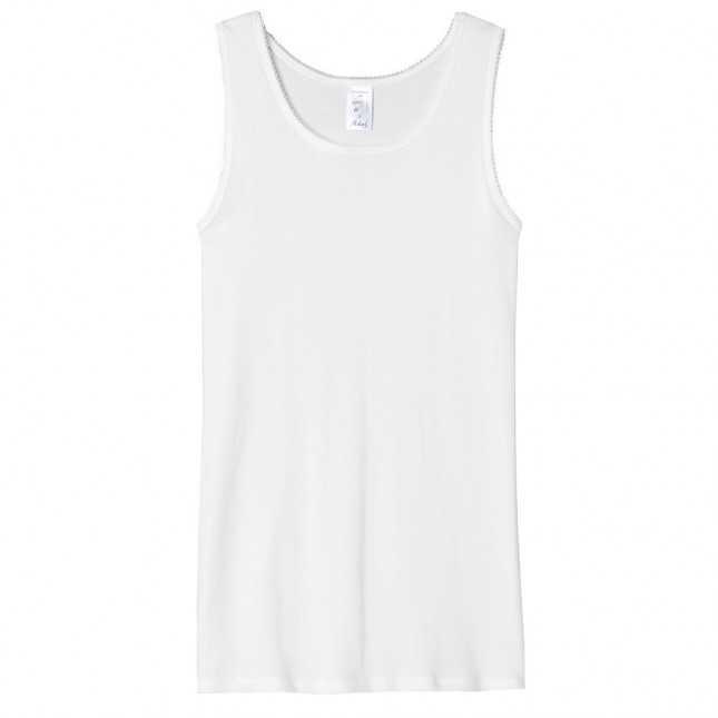 Débardeur femme blanc - Tee shirt sans manche 100% Coton | Lemahieu