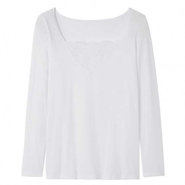 Tee-shirt manches longues et dentelles Femme - Lemahieu