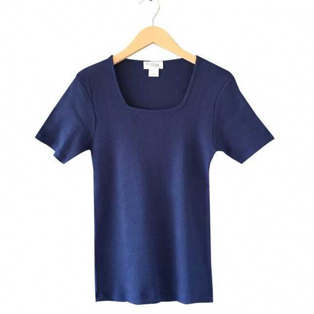 T-shirt Femme - Col carré - Bleu océan