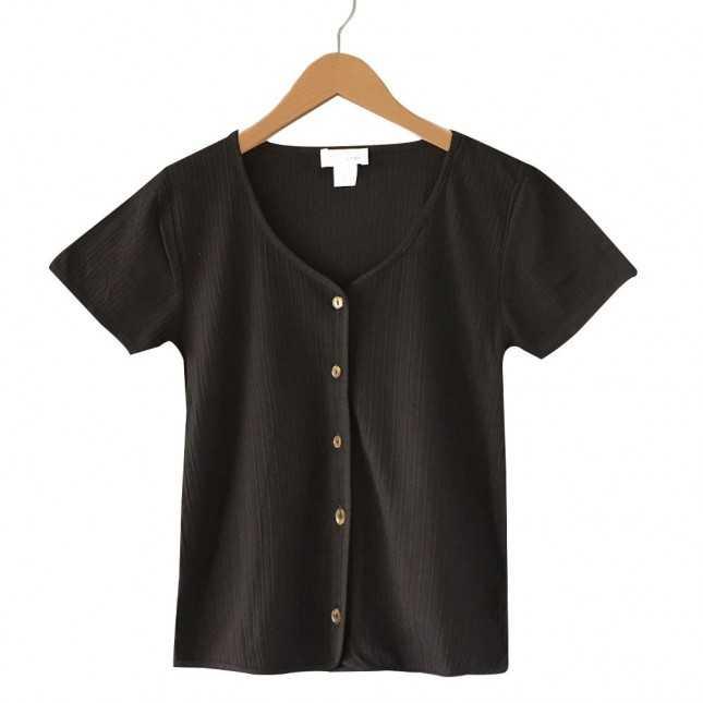 T-shirt Femme - Boutonné noir | Lemahieu
