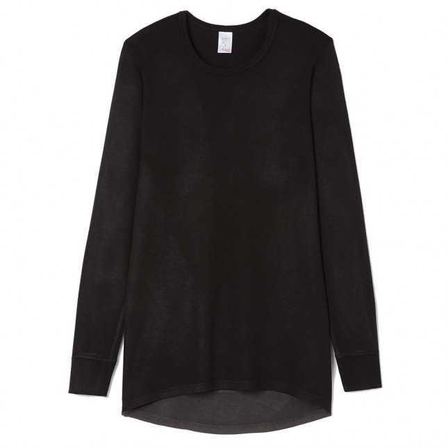 Tee-shirt noir manches longues ultra chaud - Dos long - Homme | Lemahieu