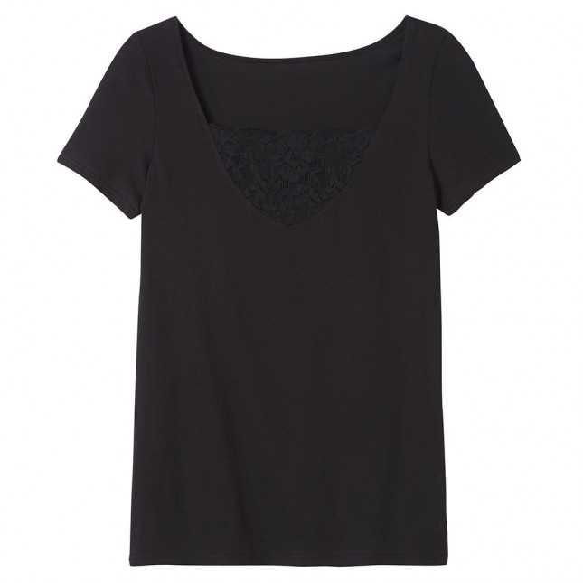 T-shirt Femme V plongeant - Noir | Lemahieu