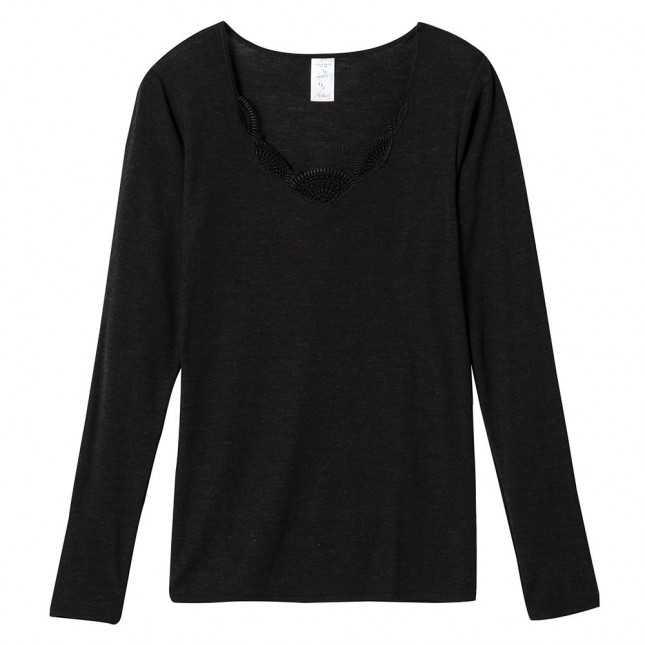 Tee-shirt manches longues en laine et soie extra chaud Femme | Lemahieu