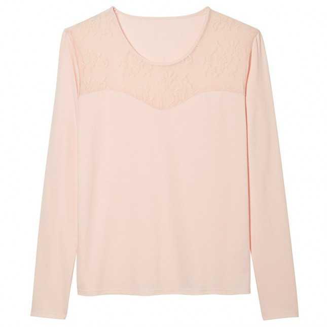 Tee-shirt manches longues empiècement dentelle Femme | Lemahieu