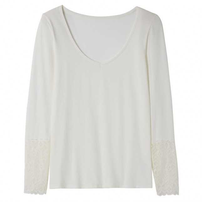T-shirt femme - Bas de manche en dentelle   Lemahieu