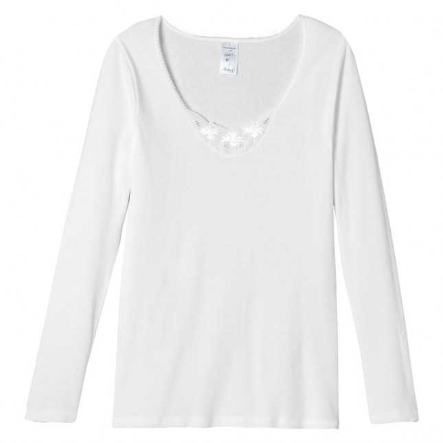 Tee-shirt manches longues en broderie anglaise | Lemahieu