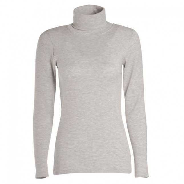 T-shirt thermique Femme - Col roulé Rayé - Noir   Lemahieu