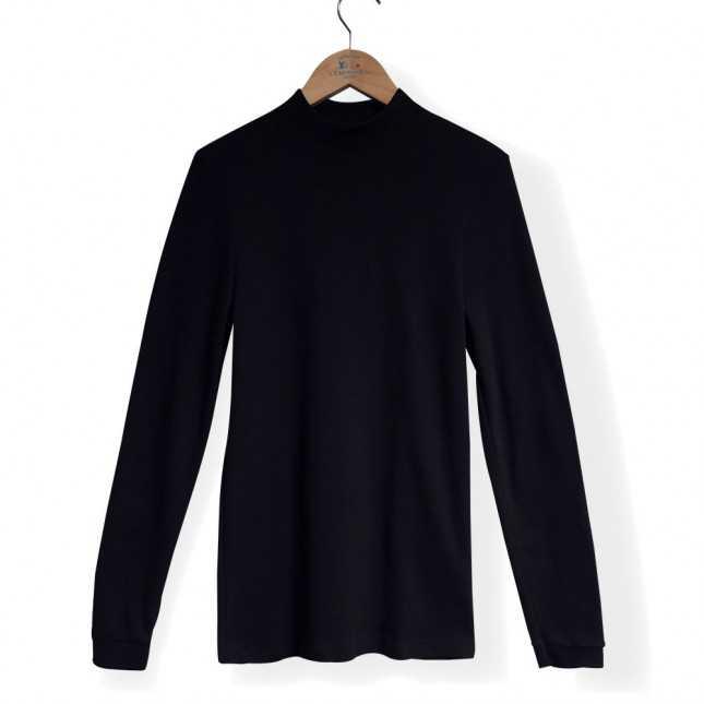 T-shirt interlock coton à col montant
