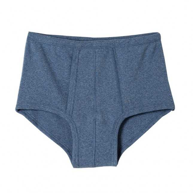 Slip à poche en coton - Bleu jean - Made in France | Lemahieu