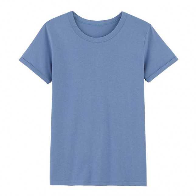 T-shirt manches à revers coton Bio - Océan
