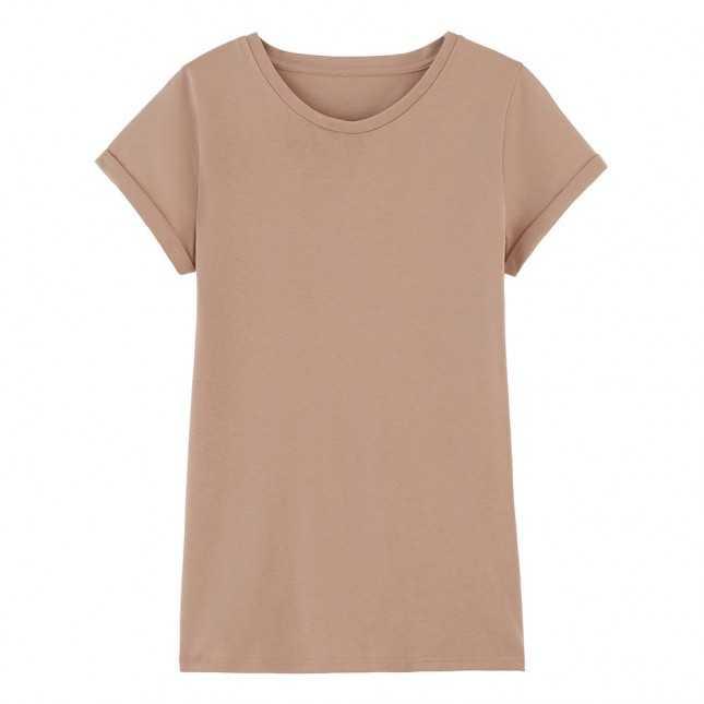 T-shirt Femme manches à revers coton Bio - Seigle