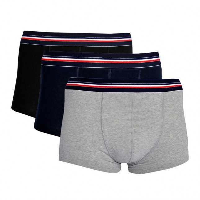 Lot de 3 Boxers - Le tricolore - Noir + Marine + Gris