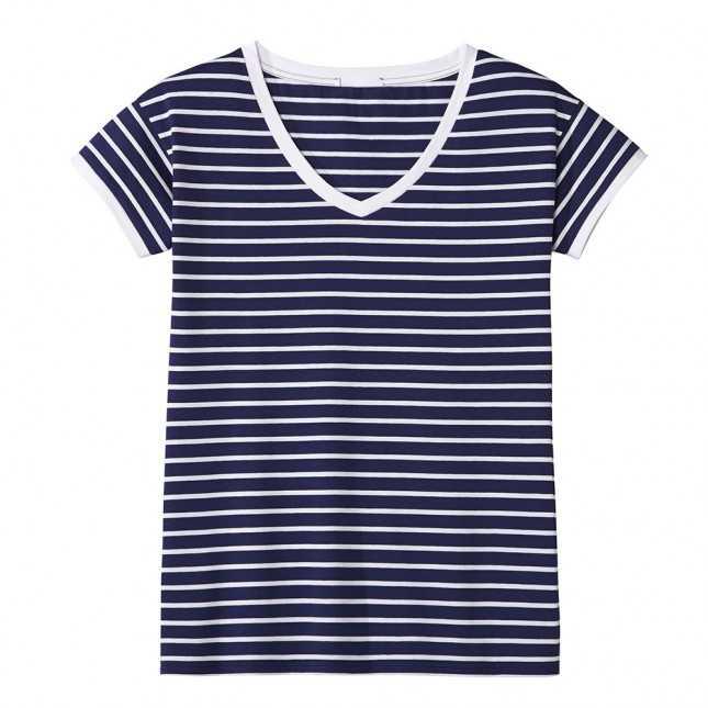 T-shirt marinière - Col V - Marine