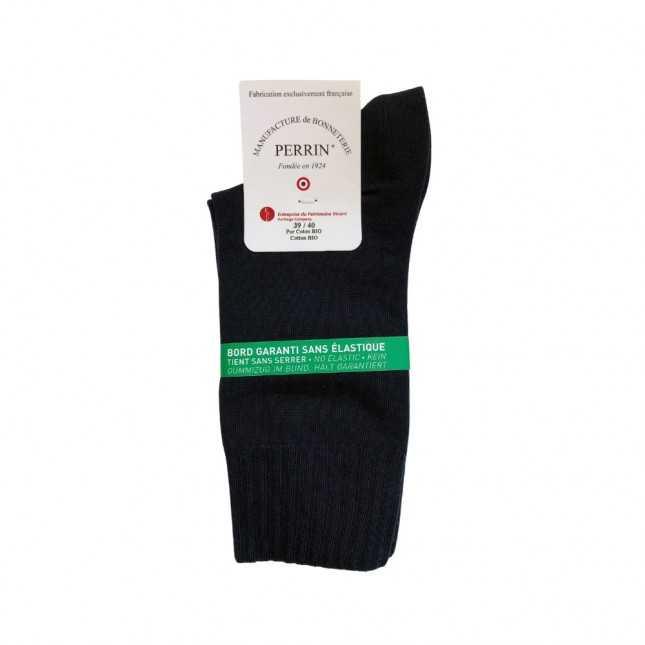 Chaussettes sans élastique Coton bio - Noir