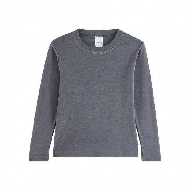 T-shirt manches longues en laine - Enfant - Gris