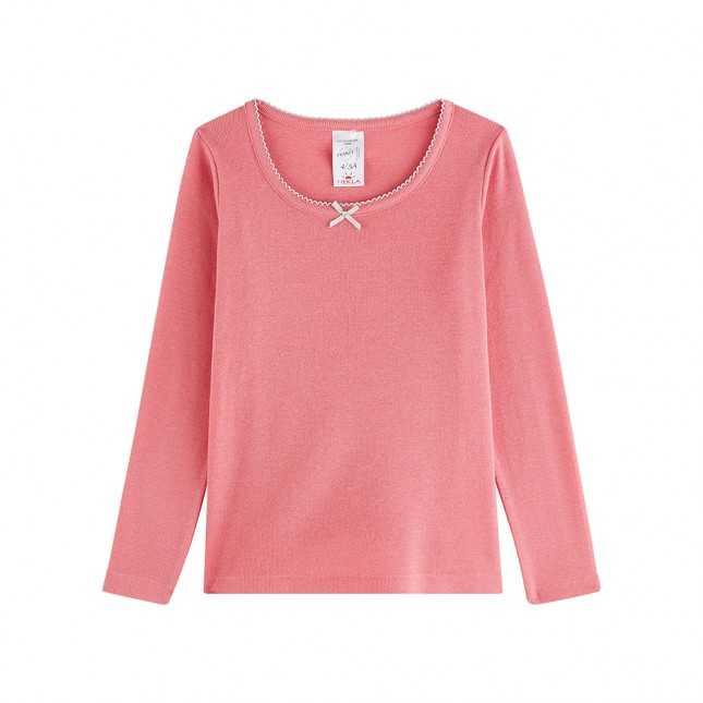 T-shirt manches longues en laine - Enfant/Ado - Rose