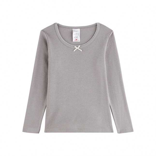 T-shirt manches longues en laine - Enfant/Ado - Gris clair