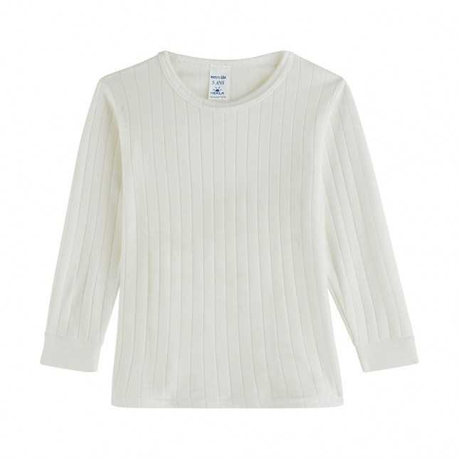 T-shirt manches longues côtelé - Enfant - Blanc