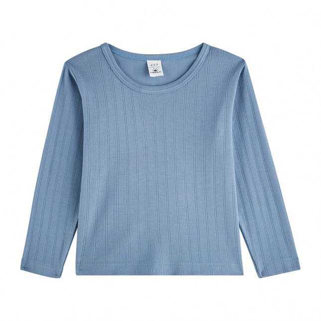 T-shirt manches longues côtelé - Enfant/Ado - Bleu