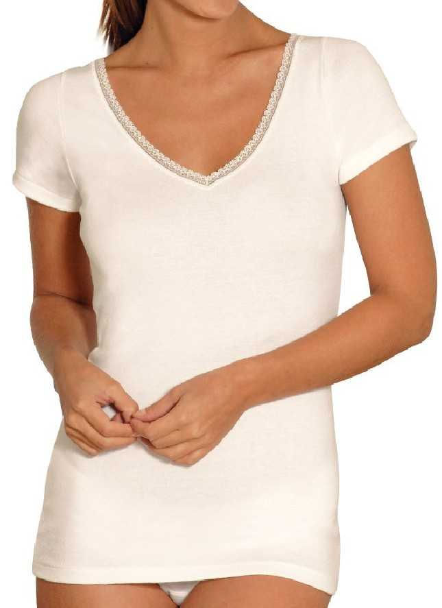Tee-shirt manches courtes chaud encolure V avec dentelle